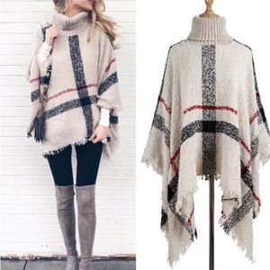 Sweaters - Plaid Turtle Neck Knit Poncho Sweater